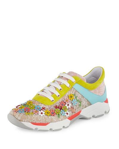 Floral-Embellished Lace Sneaker, Multi