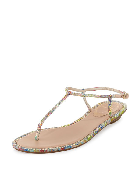 Rene Caovilla Pop Beaded Flat Thong Sandal, Multi
