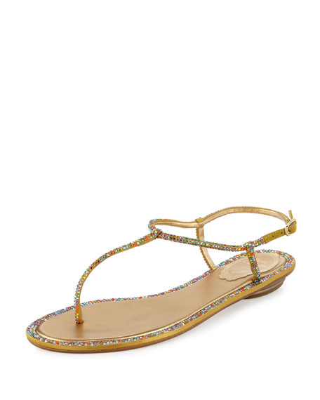 Rene Caovilla Jeweled Satin Flat Thong Sandal, Multi