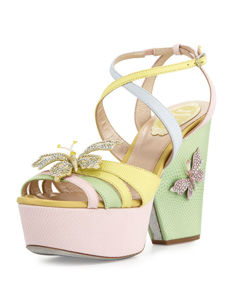 Rene Caovilla Butterfly Colorblock Snakeskin Wedge Sandal, Pink/Yellow/Green