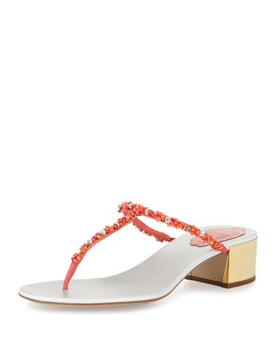 Beaded 40mm Thong Sandal, Coral