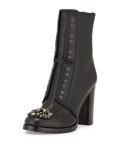 Datchet Crystal Leather Ankle Boot, Black