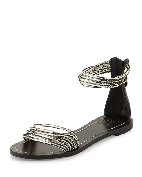 Tory Burch Mignon Braided Flat Hardware Sandal, Black/Ivory