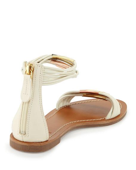 Mignon Braided Flat Sandal, Ivory