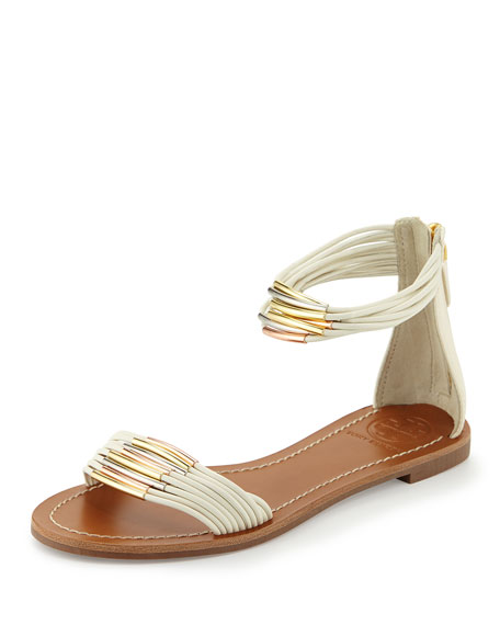Tory Burch Mignon Braided Flat Sandal, Ivory