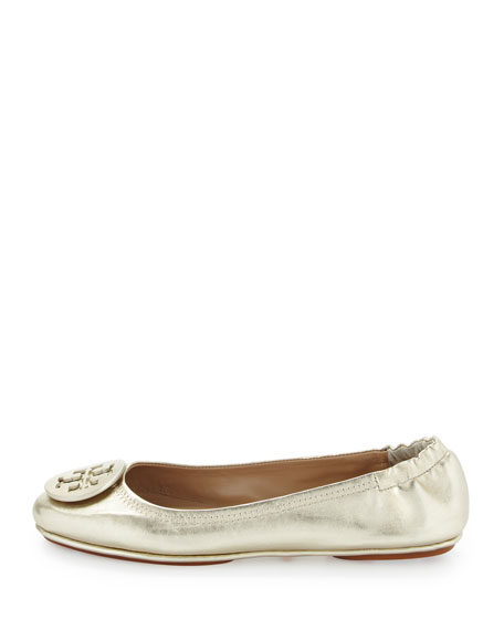 Tory Burch Minnie Travel Logo Ballerina Flat Gold