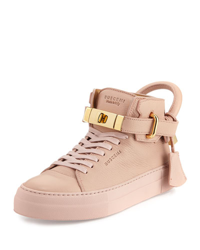 Women's 100mm Turn-Lock Patent High-Top Sneaker, Nude