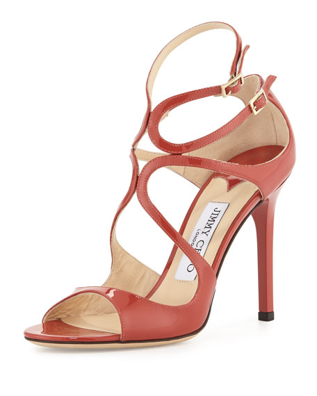 Jimmy Choo Lang Patent Strappy 100mm Sandal, Agate