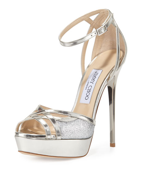 Jimmy Choo Laurita Metallic Glitter 135mm Sandal, Silver