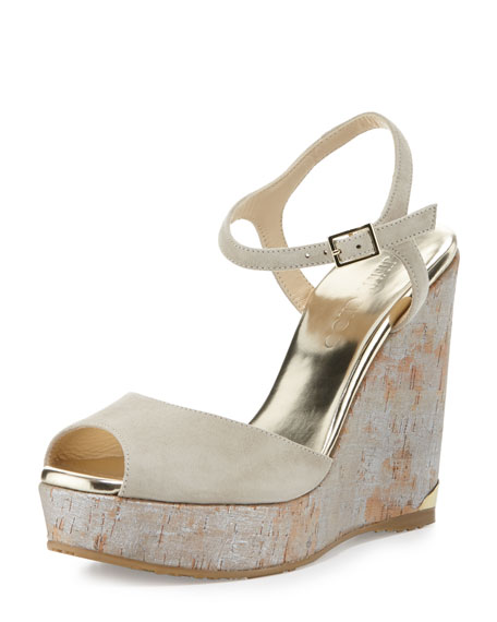 Jimmy ChooPerla Suede/Cork Wedge Sandal, Marble