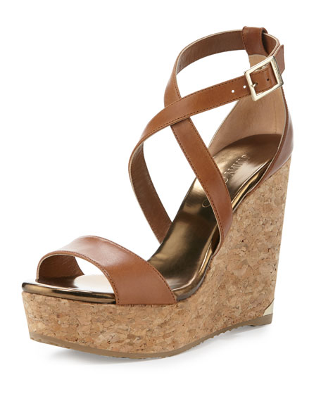 Jimmy Choo Portia Leather Crisscross Wedge Sandal, Camel