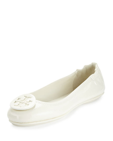 Tory Burch Minnie Travel Logo Ballerina Flat, Ivory