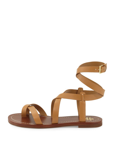 Patos Crisscross Leather Sandal, Blond