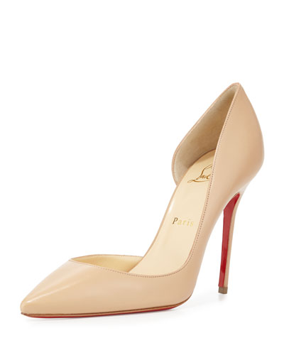Iriza Half-d'Orsay Red Sole Pump, Nude
