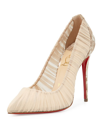 Follie Draperia Ruched Red Sole Pump, Beige