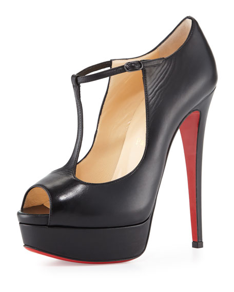 Christian Louboutin Altapoppins T-Strap Platform Red Sole Pump, Black