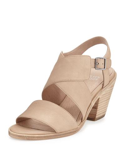 Cara Crisscross Leather Sandal, Sand