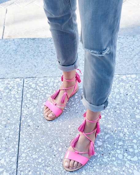 Loeffler Randall Saffron Leather Tassel Flat Sandal, Bright Fuchsia