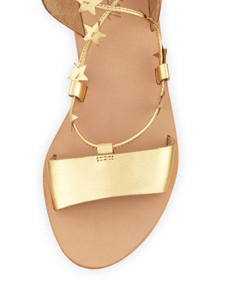 Starla Leather Gladiator Sandal, Pale Gold