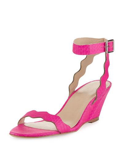 Minnie Snakeskin Wedge Sandal, Bright Fuchsia