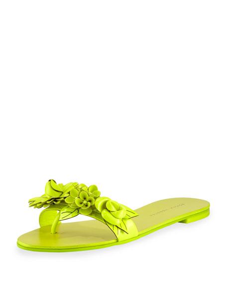 Sophia Webster Lilico Floral Slide Sandal, Fluorescent Yellow