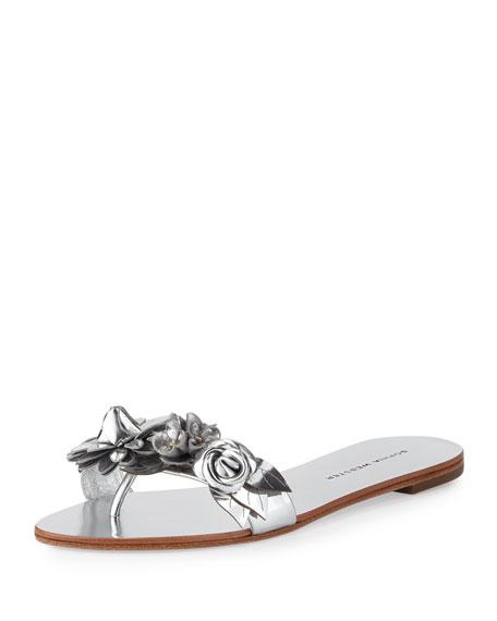 Sophia Webster Lilico Floral Slide Sandals, Silver