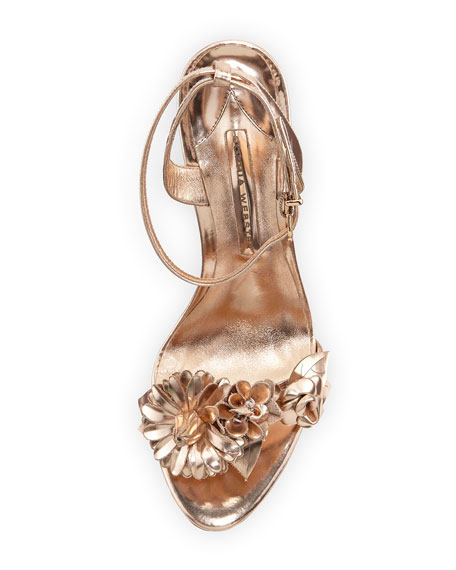 Lilico Floral Leather 105mm Sandal, Rose Gold