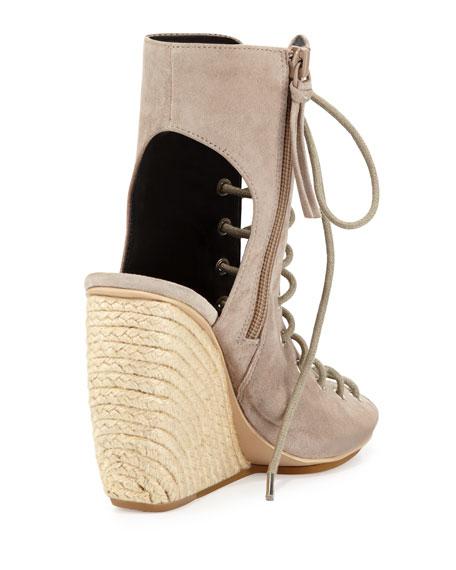 Elle Suede Lace-Up Wedge Sandal, Sand