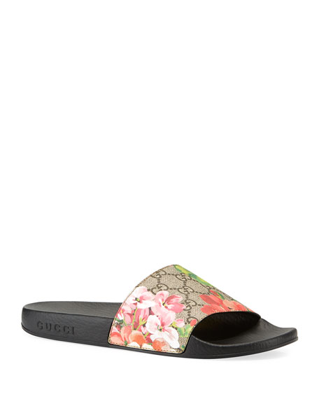 Gucci GG Blooms Supreme Slide Sandal, Ebony/Multi