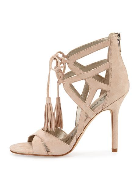 Azela Strappy Tassel Sandal, Soft Nude