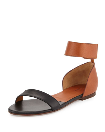 Two-Tone Leather Flat Sandal, Tan/Black