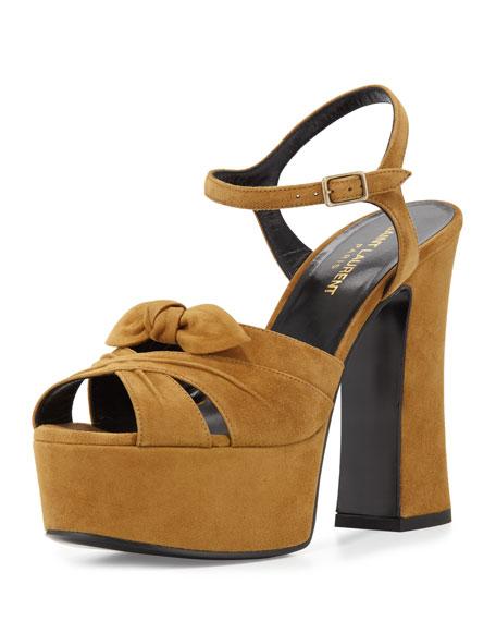 Saint Laurent Candy Suede Platform Sandal, Tan