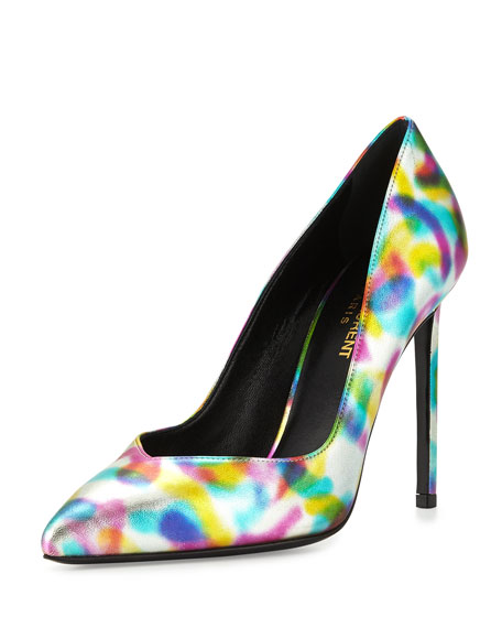 Saint Laurent Classic Paris 105mm V-Vamp Pump, Multi
