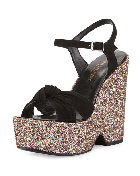 Saint LaurentPlatform Glitter-Wedge Suede Sandal, Multi/Black