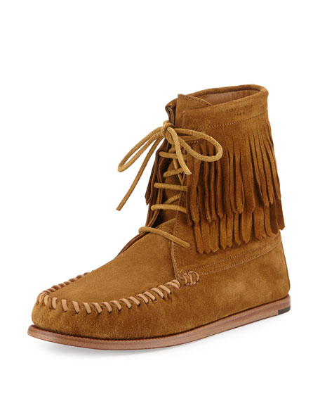 Saint Laurent Fringed Suede High-Top Moccasin Bootie, Tan