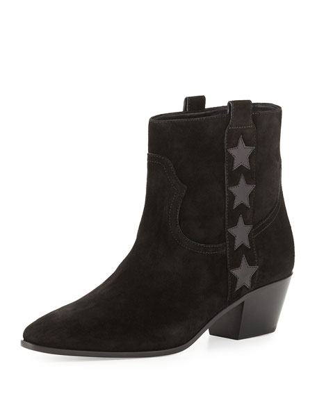 Saint Laurent Wyatt Suede Star Western Bootie, Black