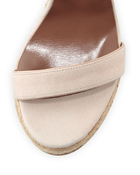 Jenny Suede Espadrille Wedge Sandal, Nude