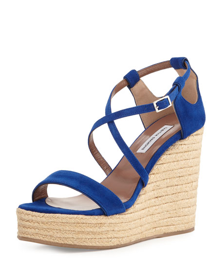 Tabitha Simmons Jenny Suede Espadrille Wedge Sandal, Navy