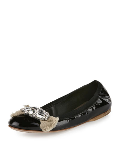 Patent Leather Crystal Bow Ballerina Flat, Black