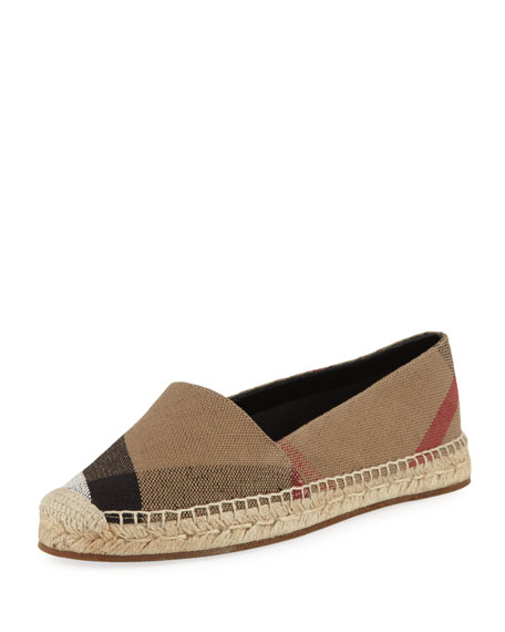 Burberry Hodgeson Check Espadrille Flat