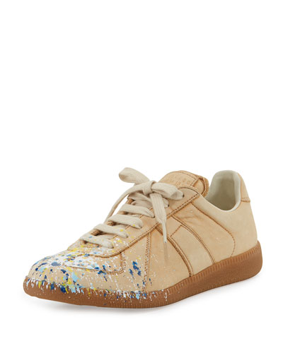 Paint Splatter Leather Sneaker, Beige