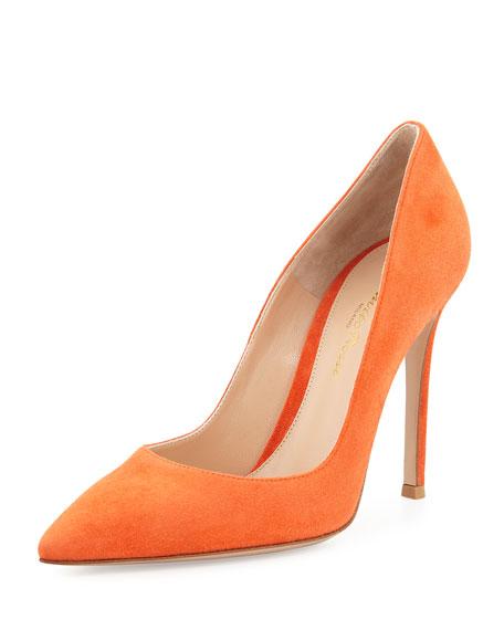 Suede Pointed-Toe 105mm Pump, Orange