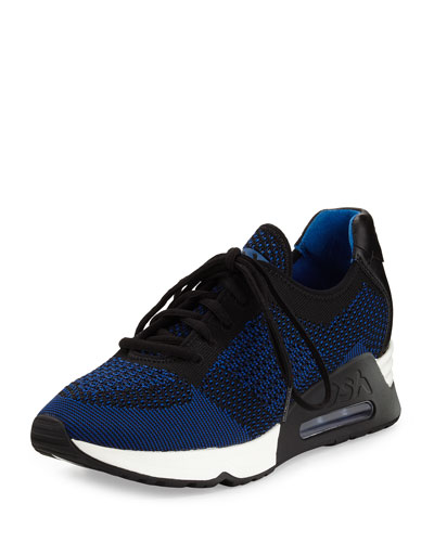 Lucky Leather-Trim Knit Sneaker, Blue/Multi