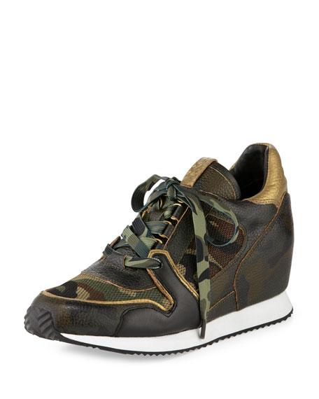 Ash Dean Camouflage-Print Wedge Sneaker, Green/Multi