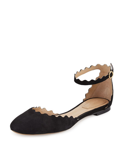 Lauren Scalloped Suede Ankle-Strap Flat, Black