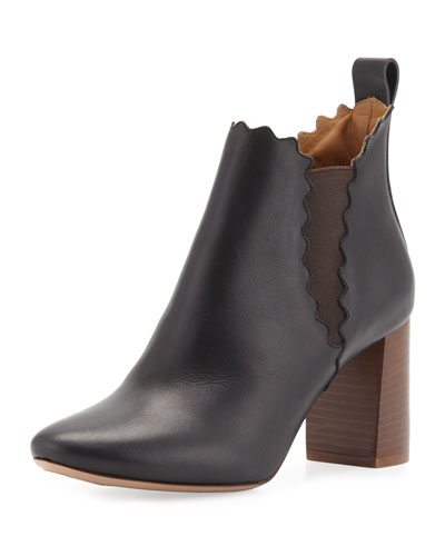 Scalloped Leather Chelsea Boot, Black