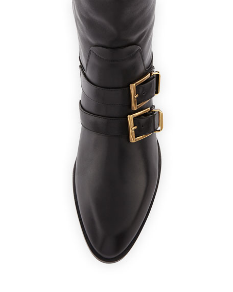 Leather Buckle Knee Boot, Black