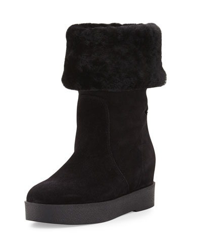 Falcon Shearling Fur-Lined Boot, Black