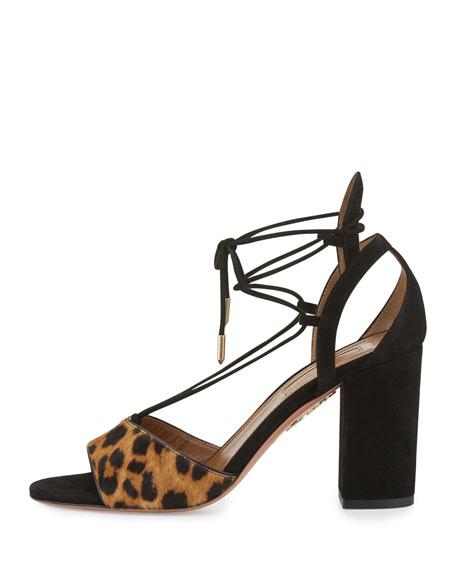 Austin Calf-Hair Lace-Up Sandal, Caramel Leopard