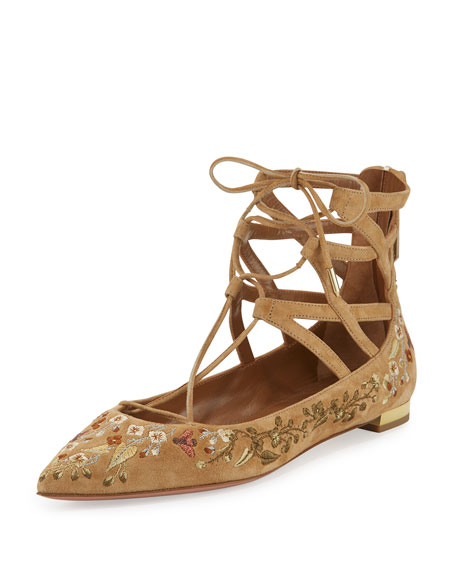 Aquazzura Belgravia Embroidered Lace-Up Flat, Cappuccino